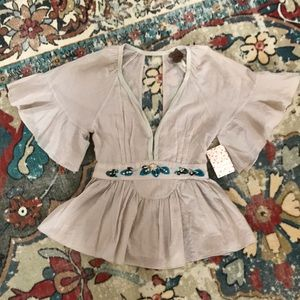 Free People Embroidered Ruffle Sleeve Top